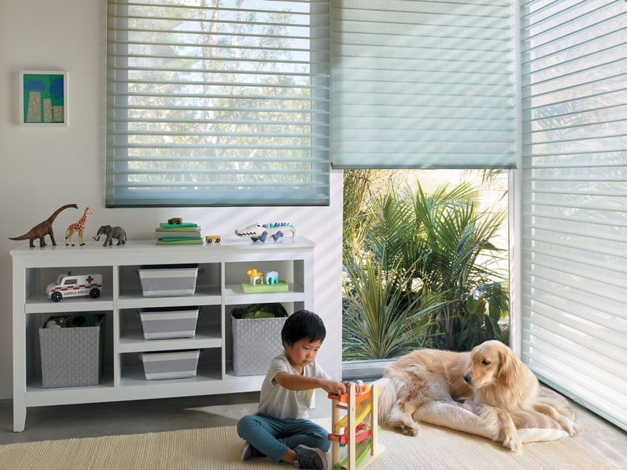 child and dog with sheer shades in playroom in Magnolia TX