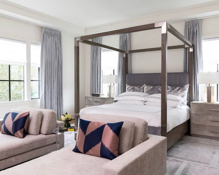 beige and gray houston TX bedroom with pink accents and light purple drapery