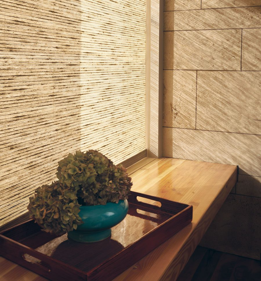 woven textures roller shades in earth tones in Houston TX