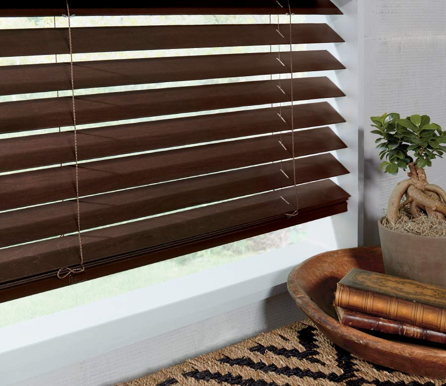 brown wood blinds detail in Houston tx home