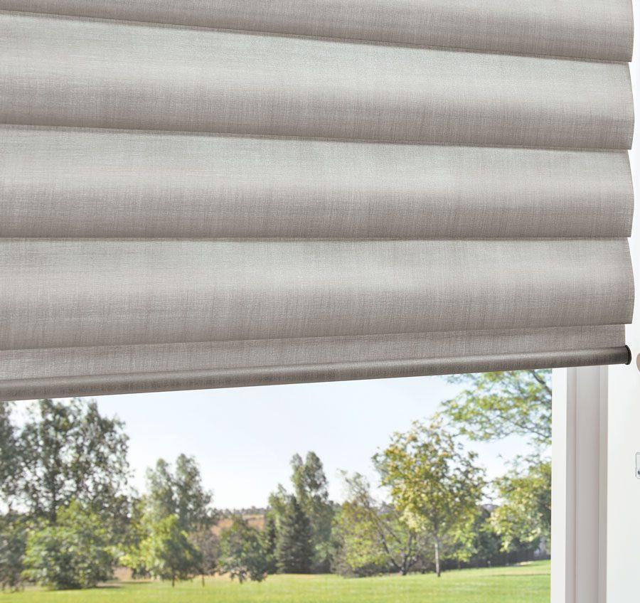 metallic window shades in soft gray