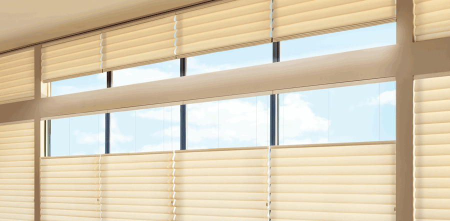 close up of windows with top down roman shades in Memorial TX