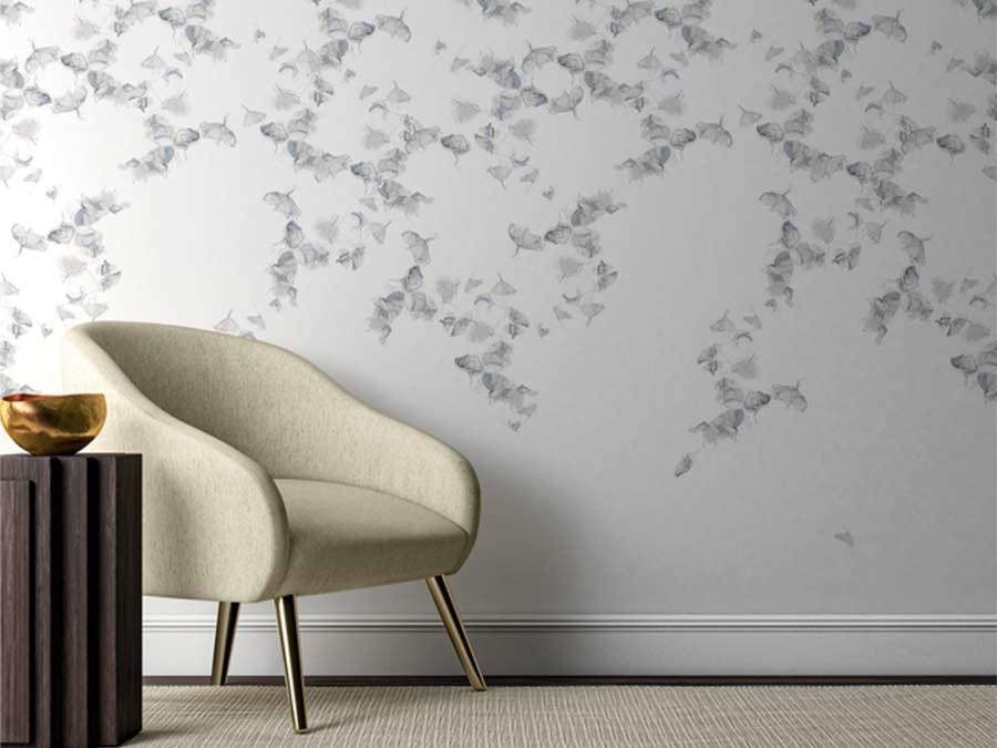 living room gray wallpaper in Houston TX