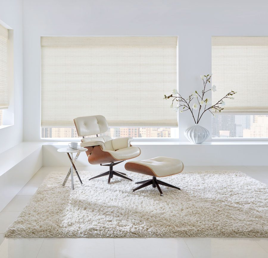 white woven shades in living room in Friendswood TX