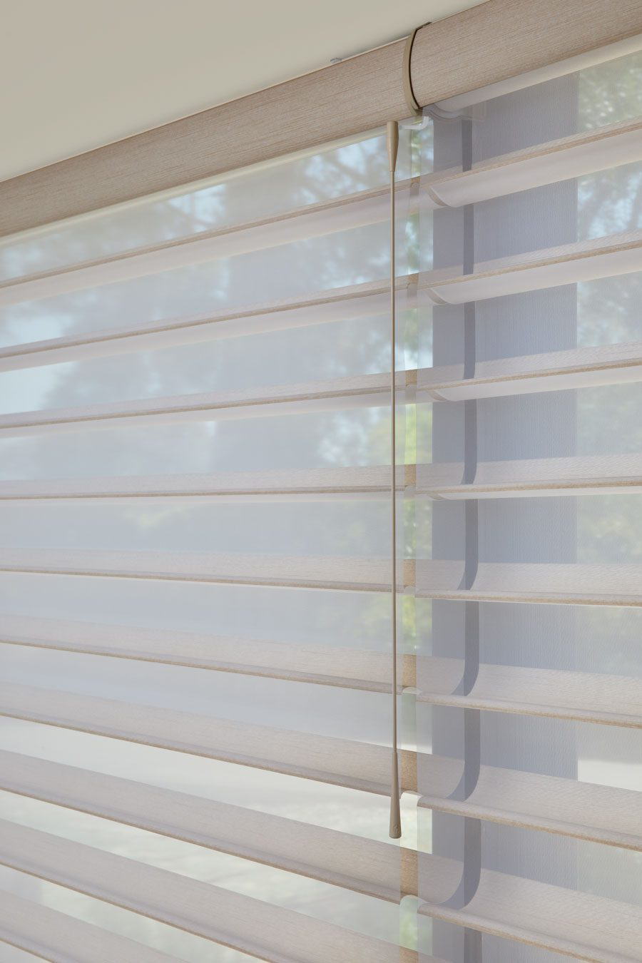 close up of silhouette shades and soft touch wand motorization in Houston TX